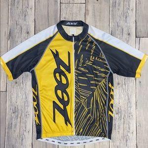 Zoot yellow, white, gray cycling jersey.